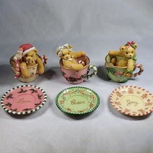 Cherished Teddies Cup Full of Love, Peace, Joy set